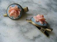 Peach and light blue hair clips, by DLAbeaddesign on etsy.com