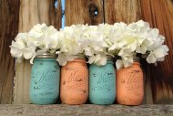 Peach and light blue mason jars, by MasonMeSmile on etsy.com