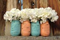 Peach and light blue mason jars, by MasonMeSmile on etsy.com