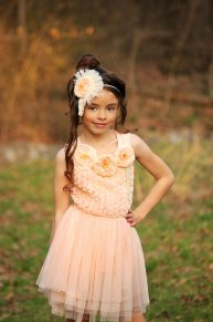 Peach and yellow flower girl dress, by BambinoParadiso on etsy.com