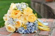 Peach, yellow and blue bouquet inspiration {via bouquetweddingflower.com}