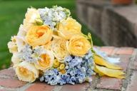 Peach, yellow and blue bouquet inspiration {via bouquetweddingflower.com}