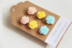 Peach, yellow and light blue rose earrings, by myhandmadecrafts on etsy.com