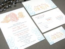 Peach, yellow and light blue wedding invitation, by RunkPockDesigns on etsy.com