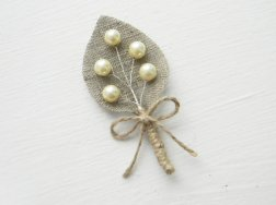 Pearl and burlap boutonniere, by WeddingForYou on etsy.com