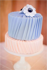 Periwinkle and blush wedding cake {via brides.com}