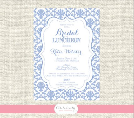 Periwinkle bridal shower invitation, by Oohlalovely on etsy.com