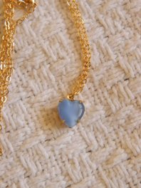 Periwinkle heart necklace, by ElleFulton on etsy.com