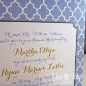 Periwinkle wedding invitation, by mybluetulipdesign on etsy.com