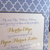 Periwinkle wedding invitation, by mybluetulipdesign on etsy.com