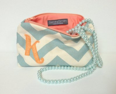 Personalised cosmetic bag for bridesmaids, by SandraSmithHandmade on etsy.com