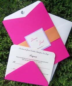 Pink and orange wedding invitation, by TheExtraDetail on etsy.com