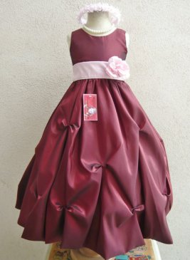 Pink and burgundy flower girl dress, by NollaCollection on etsy.com