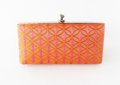Pink and orange clutch purse, by VincentVdesigns on etsy.com