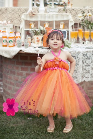 Pink and orange flower girl dress, by jujustutus on etsy.com