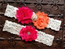 Pink and orange garters, by TheRaggedDiamond on etsy.com