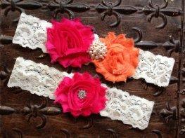 Pink and orange garters, by TheRaggedDiamond on etsy.com