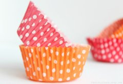 Pink and orange polka dot cupcake liners, by FancifulChaos on etsy.com