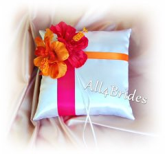 Pink and orange ring pillow, by All4Brides on etsy.com
