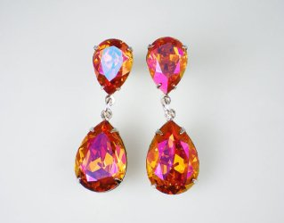 Pink and orange swarovski earrings, by milminedesign on etsy.com