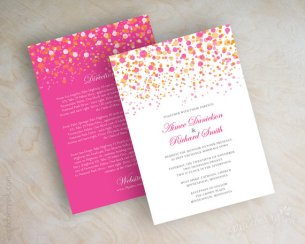 Pink and orange wedding invitation, by appleberryink on etsy.com