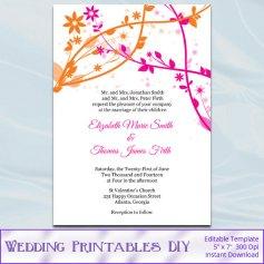 Pink and orange wedding invitation, by WeddingPrintablesDiy on etsy.com