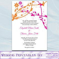 Pink and orange wedding invitation, by WeddingPrintablesDiy on etsy.com