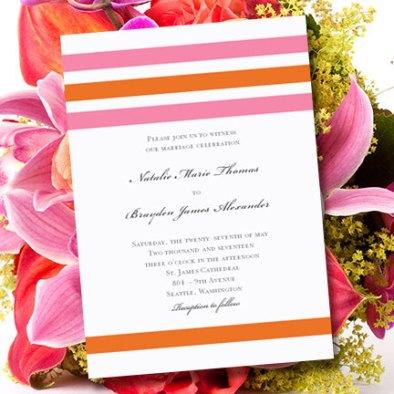 Pink and orange wedding invitation, by WeddingTemplates on etsy.com
