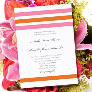 Pink and orange wedding invitation, by WeddingTemplates on etsy.com