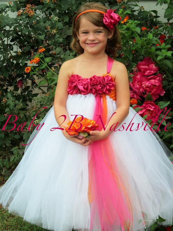 Pink orange and white flower girl tutu by baby2bnashville on etsy 570 761 in pink and orange wedding mightylinksfo