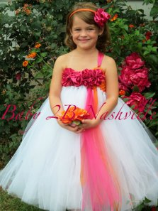 Pink, orange and white flower girl tutu, by Baby2BNashville on etsy.com