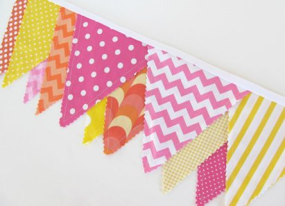 Pink, orange and yellow bunting, by OvationStudio on etsy.com