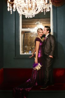 Purple sequin bridal gown, by WillowMoone on etsy.com