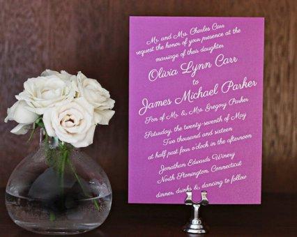 Radiant orchid wedding invitation, by BaileyHallDesigns on etsy.com