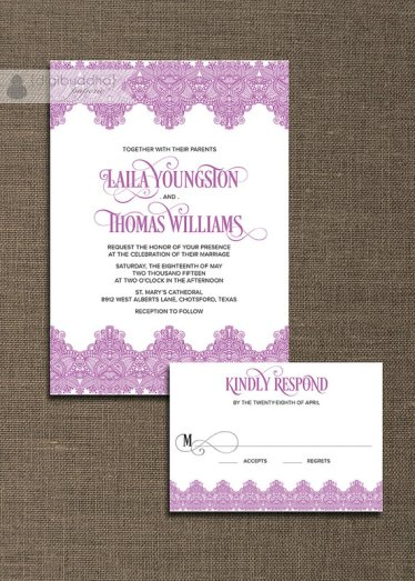 Radiant orchid wedding invitation, by digibuddhaPaperie on etsy.com
