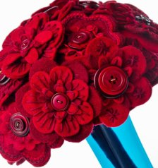 Red felt and button bouquet, by CharlieLaurieDesigns on etsy.com