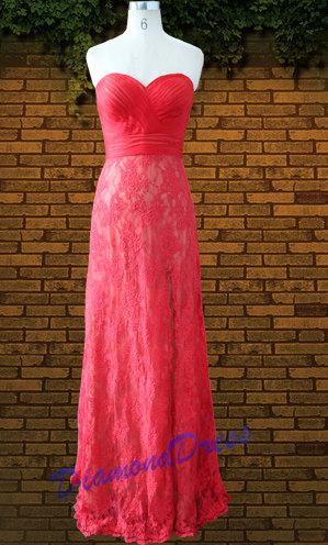 Red lace wedding dress, by DiamondDress on etsy.com