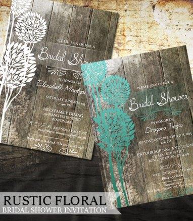 Rustic bridal shower invitation, by OddLotEmporium on etsy.com