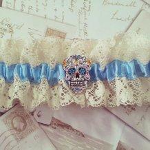 Something blue sugar skull garter, by OohLaLaBoudoir on etsy.com