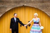 Striped tea-length wedding dress, by MissBrache on etsy.com
