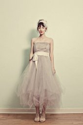 Taupe reception dress, by ouma on etsy.com