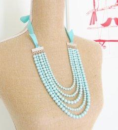 Aqua multi-strand necklace - www.etsy.com/shop/silverliningdecor