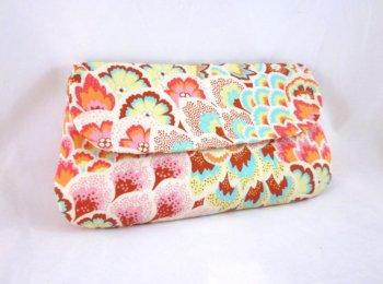 Aqua, pink and orange clutch purse - www.etsy.com/shop/waterpath