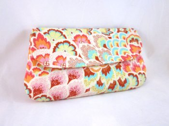 Aqua, pink and orange clutch purse - www.etsy.com/shop/waterpath