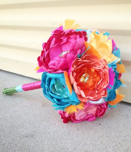 Aqua, pink and orange fabric bouquet - www.etsy.com/shop/poppylimedesign