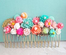 Aqua, pink and orange hair comb - www.etsy.com/shop/JewelsalemBridal