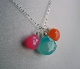 Aqua, pink and orange necklace - www.etsy.com/shop/JerseyGirlDesign