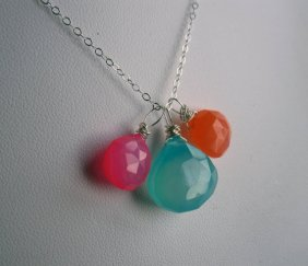 Aqua, pink and orange necklace - www.etsy.com/shop/JerseyGirlDesign