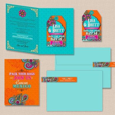 Aqua, pink and orange save the date - www.etsy.com/shop/AprilTwentyFive