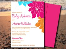 Aqua, pink and orange wedding invitation - www.etsy.com/shop/PaintTheDayDesigns